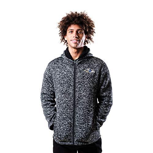 Ultra Game NFL Herren Kapuzenpullover Sherpa gefüttert Full Zip Fleece Hoodie Sweatshirt, Herren, Sherpa Full Zip Cozy Fleece Hoodie Sweatshirt, Baltimore Ravens, Large