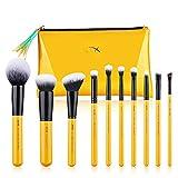 Jessup Pinceles de maquillaje Set de brochas para el rostro con base en polvo Kits cosméticos de cabello sintético 10 piezas (T276)