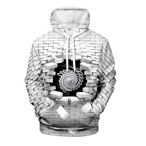 Men's Pullover Hoodie 3D Print Creative Brick Wall and Car Series Animal Casual Novelty Long Sleeve Hooded Sweatshirts with Pocket 8 Patterns L