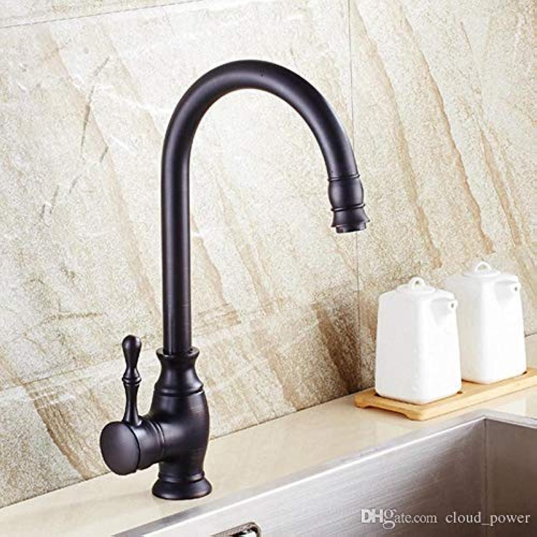Willsego Wasserhahn l eingerieben Bronze Küchenarmaturen Single Kupfer Vintage Deck montiert Becken Wasserhahn mit Einem Griff, schwarz (Farbe   -, Gre   -)