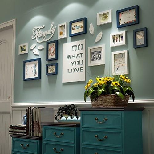 Bilderrahmen Collage Brief pastoralen Schlafzimmer Wohnzimmer massivholz kreative kreative Foto Wand Ornament Rahmen Wand Fotorahmenwand (Farbe : Blau und weiß)