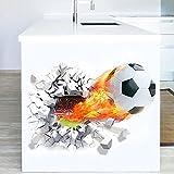 WandSticker4U - Adhesivo decorativo para pared, diseño de fútbol en 3D, mampostería, para habitación de niños, jóvenes, salón, cocina, pasillo