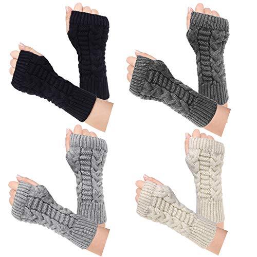 Loritta 4 Pairs Womens Fingerless Gloves Winter Warm Knit Crochet Thumbhole Arm Warmers,Mix 01(4 Pairs)