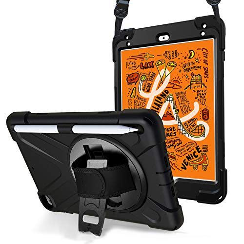 ProHülle Hülle iPad Mini 5 th Gen/Mini 4 2015 R&um Handschlaufe Hülle, Robust Heavy Duty Stoßfest Hybrid Full Body Schutzhülle Cover, mit 360°Drehständer & verstellbar Riemen Schultergurt –Schwarz
