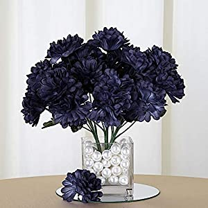 BalsaCircle 84 Navy Blue Silk Chrysanthemums – 12 Bushes – Artificial Flowers Wedding Party Centerpieces Arrangements Bouquets Supplies
