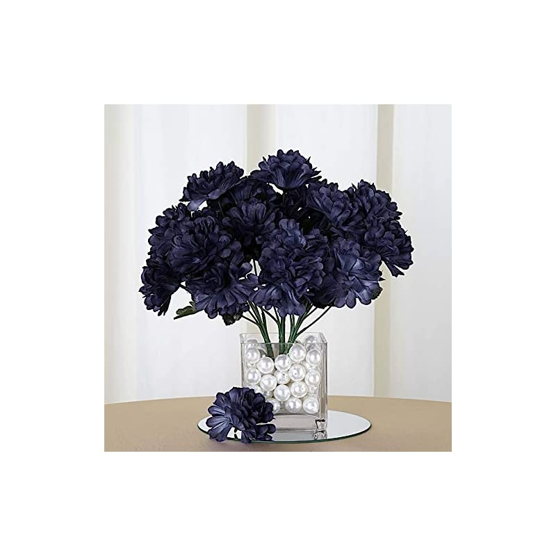 silk flower arrangements balsacircle 84 navy blue silk chrysanthemums - 12 bushes - artificial flowers wedding party centerpieces arrangements bouquets supplies