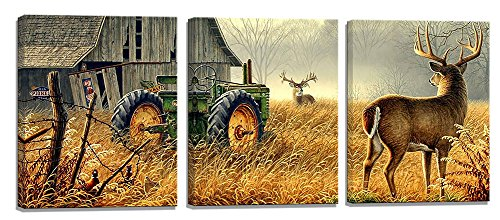 Yiijeah Modern Artwork Animal Painting Giclee Gold and Gray Tone Tractor and Deer Prints on Canvas 3 Panels Contemporary Wall Art Stretched and Framed Ready to Hang for Living Room Bedroom Home Decor