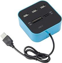 SISK De Alta Velocidad USB 2.0 Hub, Adaptador del Ordenador periférico de Cambio en Caliente de 3 vías con Lector de Tarjetas USB Mini Hub Combo Todo-en-uno