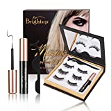Brightup Magnetic Eyelashes with Eyeliner, 3D Natural Look Reusable False Magnetic lashes Kit, Long Lasting Waterproof Magnetic Eyeliner, Twinkle Mirror Box with Tweezers, Ideal For Gift (Black)