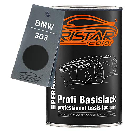 TRISTARcolor Autolack Dose spritzfertig für BMW 303 Cosmosschwarz Metallic Basislack 1,0 Liter 1000ml