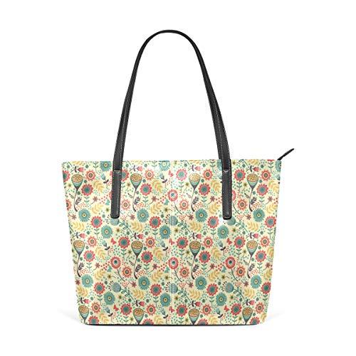 NR Multicolour Fashion Damen Handtaschen Schulterbeutel Umhängetaschen Damentaschen,Moderner Blumenstrauß Botanik Print