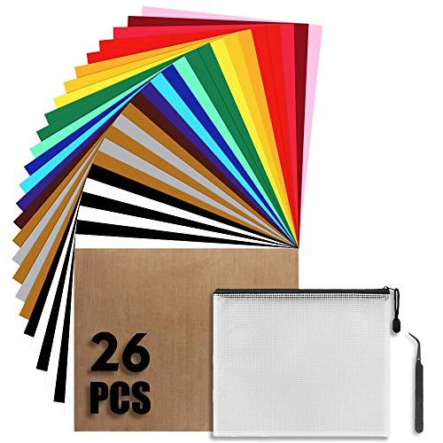 26 Stück Wärmeübertragung Vinyl Textilfolien Transferpapier 12