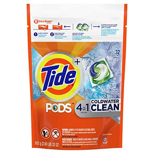 Tide Pods Detergente para lavandería con agua fría, 32 unidades, 30 onzas/877 g