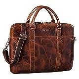 STILORD 'Laslo' Businesstasche Leder Groß für Herren 13,3 Zoll Laptop-Tasche DIN A4 Hochwertig Vintage Handtasche Umhängetasche Schultertasche Echtleder, Farbe:Milano - braun