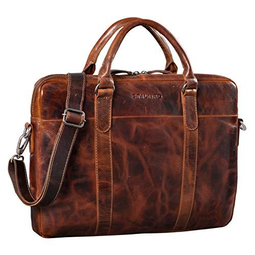 STILORD'Laslo' Businesstasche Leder Groß für Herren 13,3 Zoll Laptop-Tasche DIN A4 Hochwertig Vintage Handtasche Umhängetasche Schultertasche Echtleder, Farbe:Milano - braun