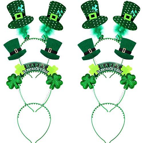 6 Piezas de Diadema Verde de Día de San Patricio Accesorios de Bopper de Cabeza de Trébol para Decoración de Fiesta Disfraz, 3 Diseños