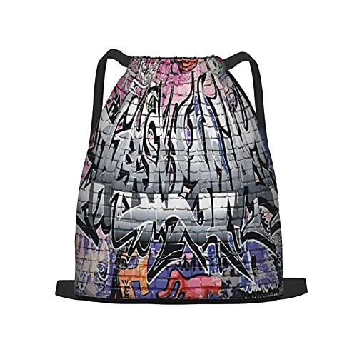 BohoMonos Mochila deportiva con cordón,Rústico Graffiti Grunge Art Wall Varios Creep, Gym Sackpack para Hombres Mujeres Niños Yoga Travel Camping String Bag.