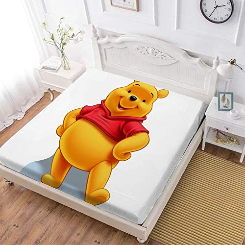 Fitted Sheet,Winnie The Pooh Bear (8),Soft Wrinkle Resistant Microfiber Bedding Set,with All-Round Elastic Deep Pocket, Bed Cover for Kids & Adults,full (59x80 inch)