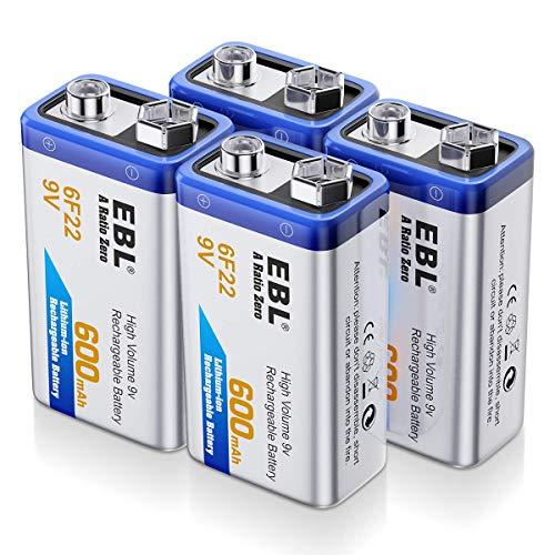 EBL 4 Unidades 9V 600mAh Pilas Recargables Li-Ion Alta Capacidad para Alarmas, Dispositivos Médicos, Juquetes y Relojes ⭐