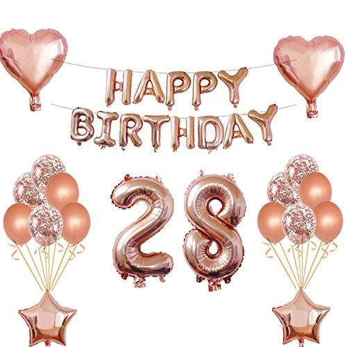 Oumezon 28 Verjaardag meisjes Decoratie Rose Gold 28e verjaardag decoratie voor meisjes jongens Happy Birthday slinger banner folieballon confetti ballonnen decoratie verjaardag party aantal ballonnen