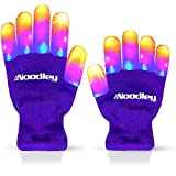 The Noodley Purple Small Toy Light Up Children LED Gloves Girls and Boys Funky Flashing Orange, Pink, and Blue - Kid Sized Ages 4,5,6,7 Year olds (Small, Purple)