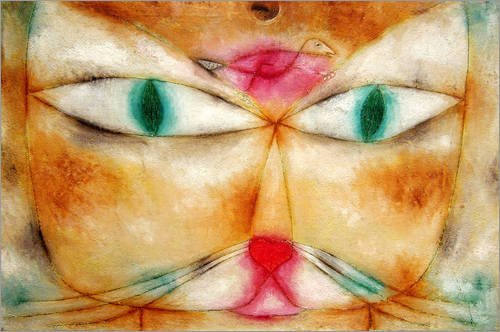 Posterlounge Acrylglasbild 90 x 60 cm: Katze und Vogel von Paul Klee - Wandbild, Acryl Glasbild, Druck auf Acryl Glas Bild