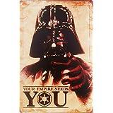 FIKR あなたの帝国が必要! メタルプラーク   スターウォーズ ダースベイダー 楽しい映画 ブリキ看板 ビンテージ メタルパブ クラブ カフェバー ホームウォールアート 装飾ポスター レトロ 8x12インチ