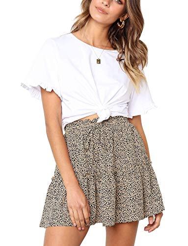 Women's Chiffon High Waist Ruffle Pleated Leopard Print Short Skirt A-line Mini Skater Skirt Medium