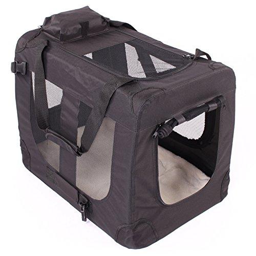 TRESKO Transportbox faltbar inklusive Polster Hundebox Autobox Katzen in verschiedenen Farben & Größen (XXL, Schwarz)