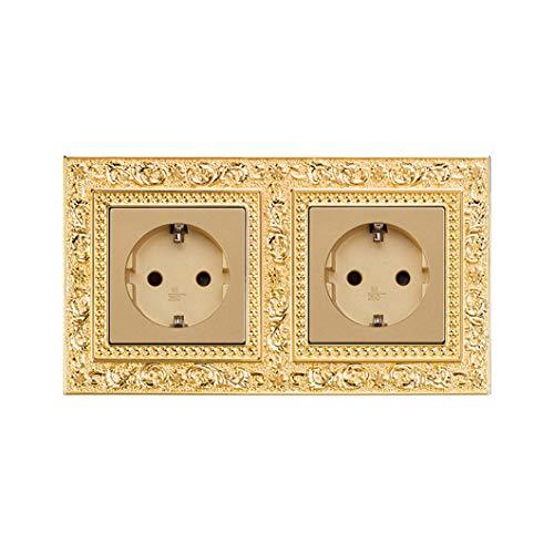 Panel de control de grabado de patrón de interruptor de botón pulido a mano de metal en la pared Interruptor de luz iluminado 1/2/3 Gang 1/2 Way 2 EU socket 1 way