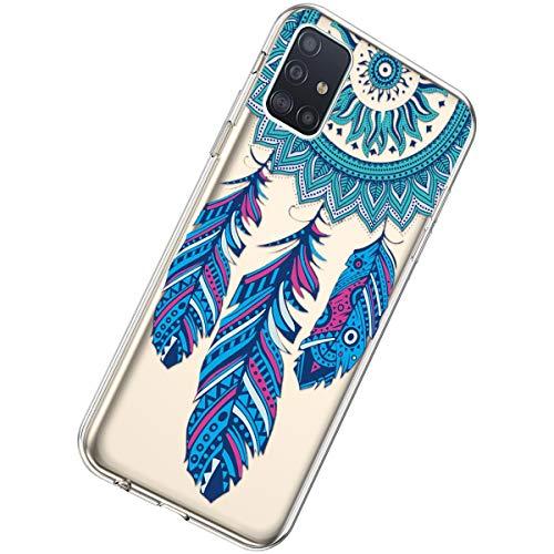 Herbests Kompatibel mit Samsung Galaxy A51 Hülle Silikon Weich TPU Handyhülle Durchsichtige Schutzhülle Niedlich Muster Transparent Ultradünn Kristall Klar Handyhülle,Feder