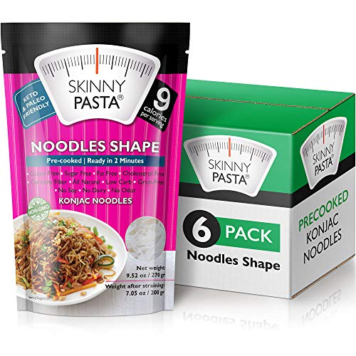 Skinny Pasta 9.52 oz - The Only Odor Free 100% Konjac Noodle (Shirataki Noodles) - Pasta Weight loss - Low Calorie Food - Healthy Diet Pasta - Noodles - 6-Pack