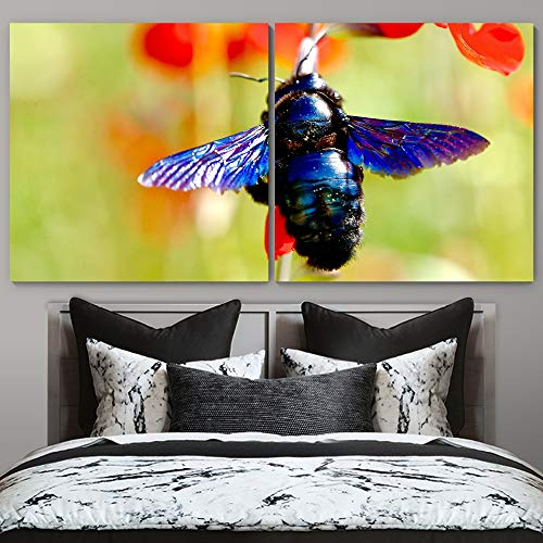 """bestdeal depot Bee on Flowers CloseUp Decorative Elements Art For Home Office 2 Panel Canvas Wall Art Prints for Living Room,Bedroom Ready to Hang - 24""""x24"""" x 2 Panels"""