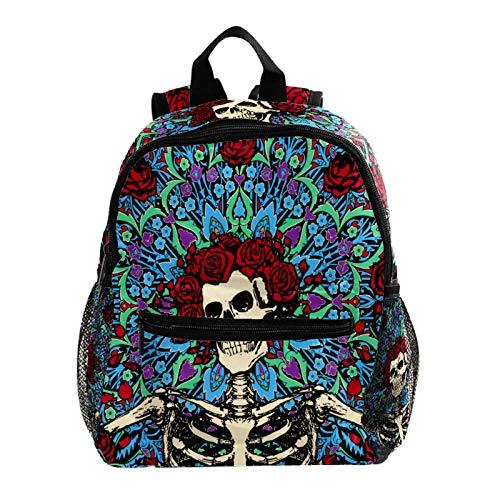School Backpack Skull Rose Print Backpack Kids School Bag Mini Bookbag Casual Daypack 25.4x10x30 cm
