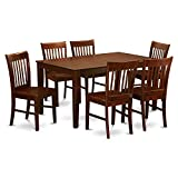 East West Furniture CANO7-MAH-W Rectangular Dining Table Set 7 Piece - Wooden Dining Chairs Seat - Mahogany Finish Small Rectangular Table and Frame