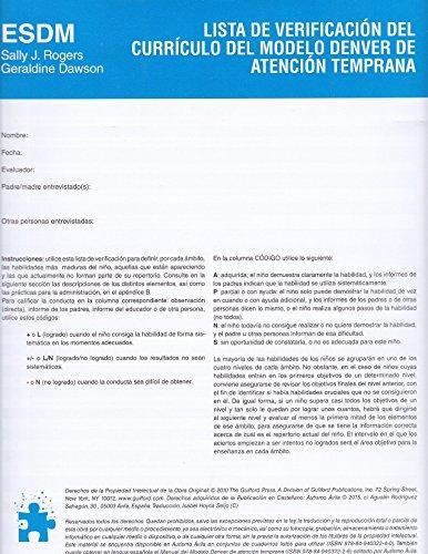 Lista de verificación del Currículo del Modelo Denver de Atención Temprana: ESDM (Spanish Edition