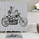 Lieteuy Fabric Shower Curtain and Mats Set,Retro Skeleton Motorcycle Framework Bone Riding Autocycle Speeding Passion Funny Skull Hipster,Water Repellent Bath Curtains with 12 Hooks,Non Slip Rugs