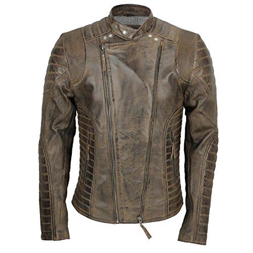 Xposed - Chaqueta de motociclista para hombre, piel suave, estilo vintage, color marrón