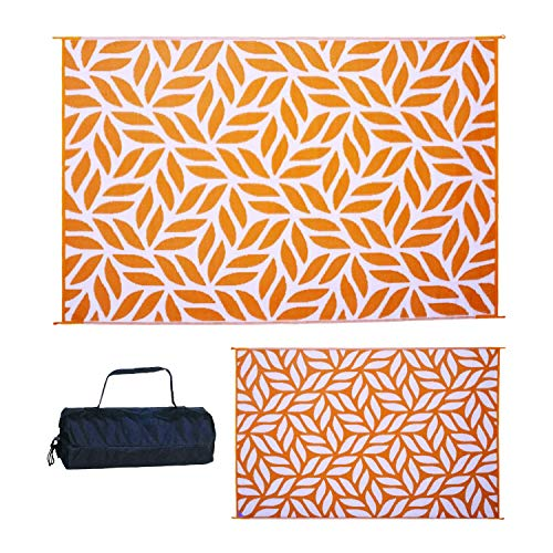 Reversible Mats Outdoor Patio Mat – Virgin Polypropylene - Easy to Clean – Perfect for Picnics, Cookouts, Camping, The Beach, and Patio (Leaf Design, 6-Feet x 9-Feet, Mango/White)