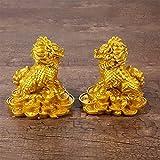 Estatua Impresionante Home Garden Ornament Sculpture Decoración Feng Shui Chi Lin / Adornos de la estatua de Kirin, Chino Conjunto de dos resinas de oro Kirin Prosperity Prosperity Statue, atrae la ri