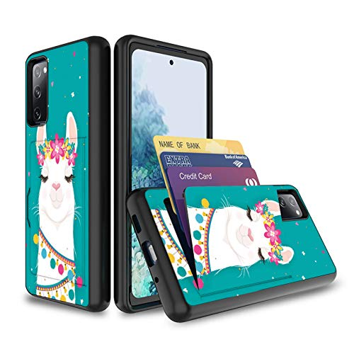 Galaxy S20 FE Wallet Case,Wkooff Slim Protective with Credit Card Holder Dual Layer Hybrid Shockproof Anti Scratch PC+ TPU Case Cover for Samsung Galaxy S20 FE 5G,Cute Llama