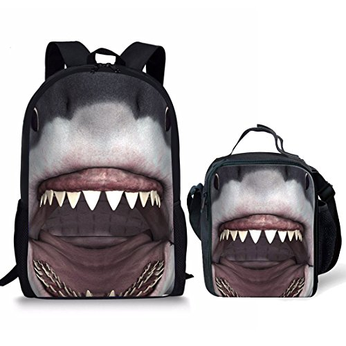 Nopersonality cooler Kinder-Rucksack mit 3D-Tiermotiv, mit isolierter Lunchtasche für Jungen und Mädchen, 2 Stück - Hai (Grau) - Nopersonality