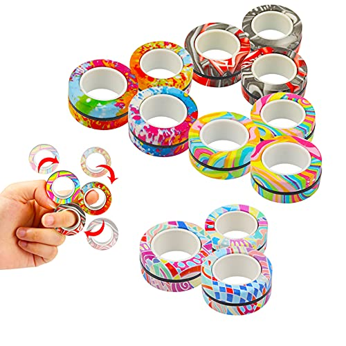 Pushmick 12Pcs Finger Magnetic Ring Fidget Toys, Colorful Finger Rings Toy Great for Training...
