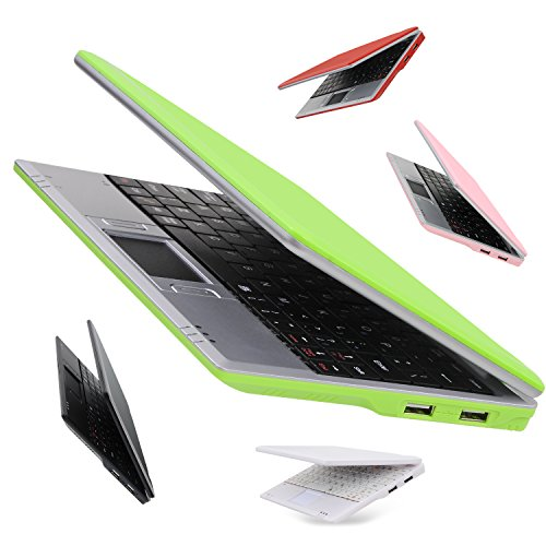 Goldengulf 7 Inch Portable Mini Computer Laptop PC Netbook for Kids Android 5.1 Quad Core 8GB WiFi Built in Camera Netflix YouTube HDMI Port Flash Player (Green)