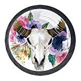KAMEARI Acuarela Yak cabeza de calavera flor 4 piezas tiradores de cajón manija de cristal forma círculo armario cajones con tornillos para el hogar cocina oficina