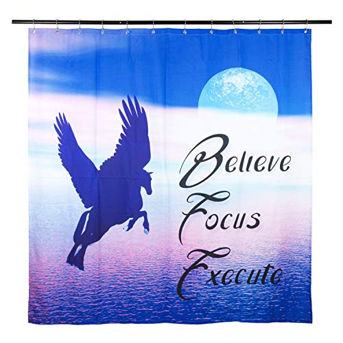 Symplifv Heavy Duty Fabric Shower Curtain Inspirational Bathroom Set with 12 Hooks- Positive Quote, Motivational Words, Waterproof, Weighted, Washable, Ocean Blue, 70x72