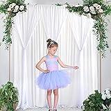 NSSONBEN Tüll Hintergrund Vorhang Hochzeit Weiß 300 x 215cm