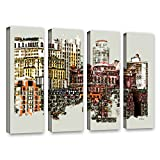ArtWall Linda Parker's NYC Manhattan Cluster 4 Piece Gallery-Wrapped Canvas Artwork, 24 by 32'