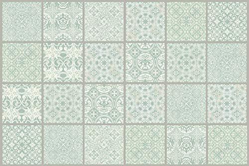 "Queence Protección contra salpicaduras de cocina ""Diseño de baldosas, oferta veraniega Panel posterior de cocina | Alu-DiBond | Protección para azulejos de cocina Tamaño: 60 x 40 x 0,3 cm"