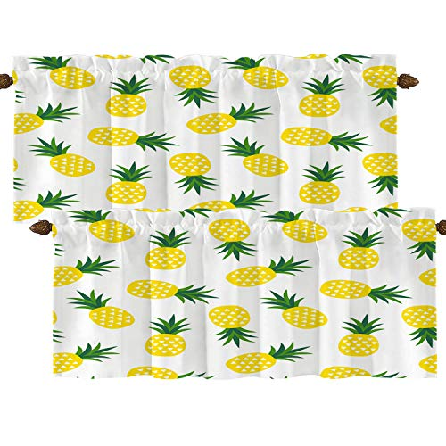 BaoNews Yellow Pineapple Geometric Kitchen Valances Window Curtain, Pineapple Print Green and Yellow On White Blackout Decoration Window Valances Curtains Drapes Kitchen Bedroom, 52 X 18 Inch Set of 2